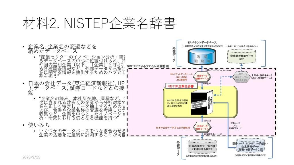 """材料2. NISTEP企業名辞書 • 企業名, 企業名の変遷などを 納めたデータベース • """"..."""