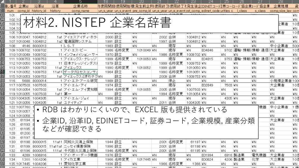 材料2. NISTEP 企業名辞書 • RDB はわかりにくいので、EXCEL 版も提供されて...