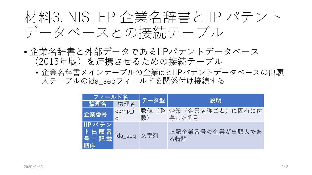 材料3. NISTEP 企業名辞書とIIP パテント データベースとの接続テーブル • 企業名...
