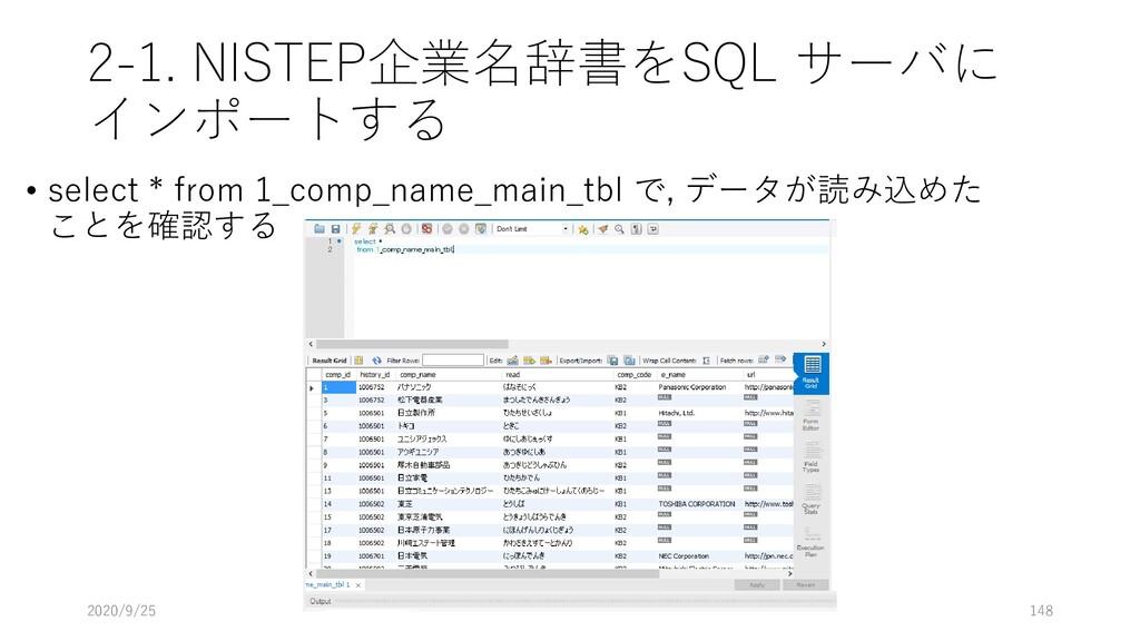 2-1. NISTEP企業名辞書をSQL サーバに インポートする • select * fr...