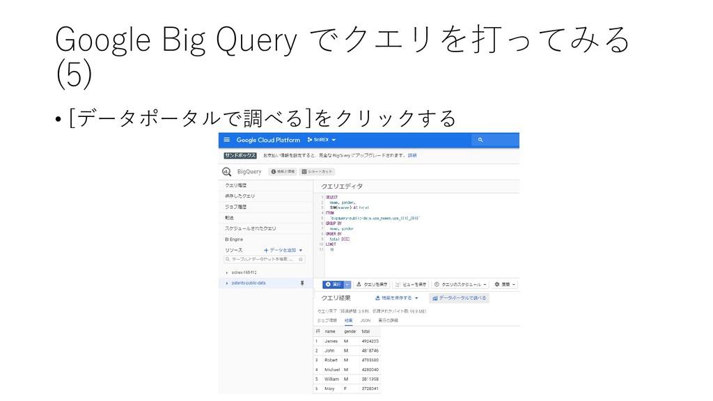 Google Big Query でクエリを打ってみる (5) • [データポータルで調べる]...
