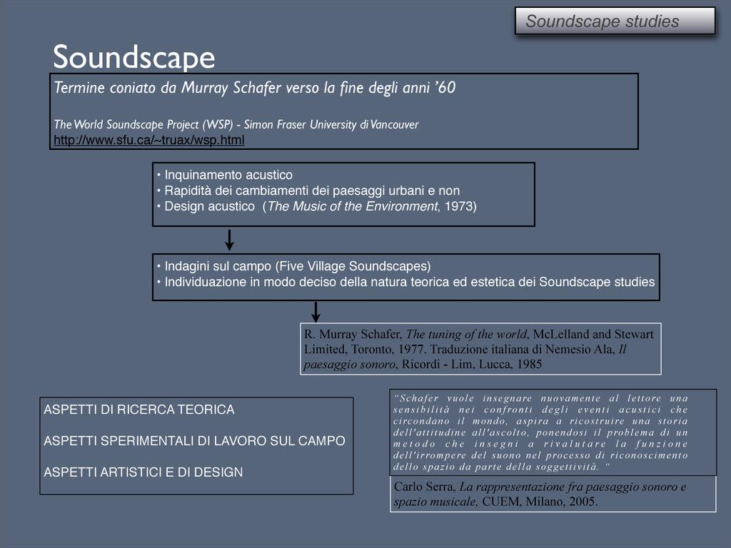 Soundscape Termine coniato da Murray Schafer ve...