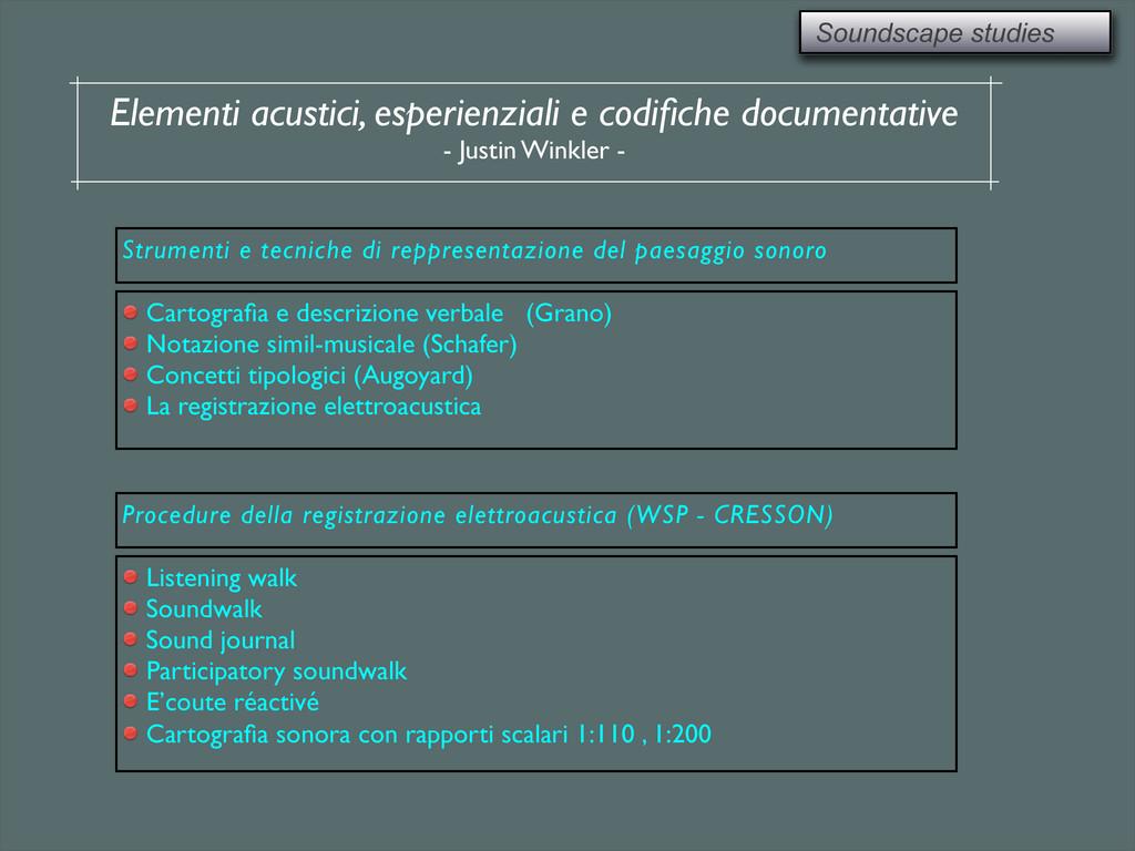 Soundscape studies Elementi acustici, esperienz...