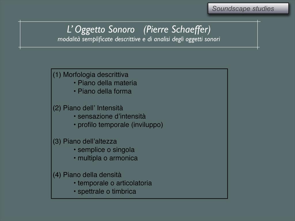 Soundscape studies L' Oggetto Sonoro (Pierre Sc...