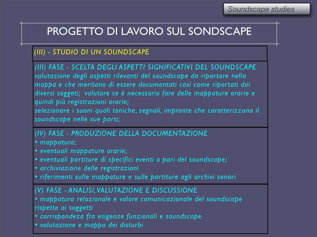 PROGETTO DI LAVORO SUL SONDSCAPE Soundscape stu...