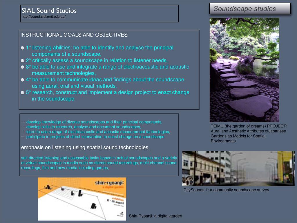 SIAL Sound Studios http://sound.sial.rmit.edu.a...