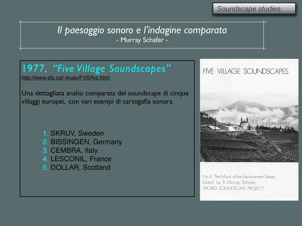 Soundscape studies Il paesaggio sonoro e l'inda...