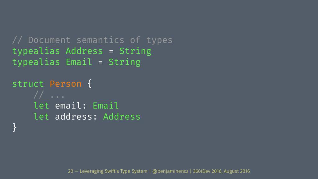 // Document semantics of types typealias Addres...