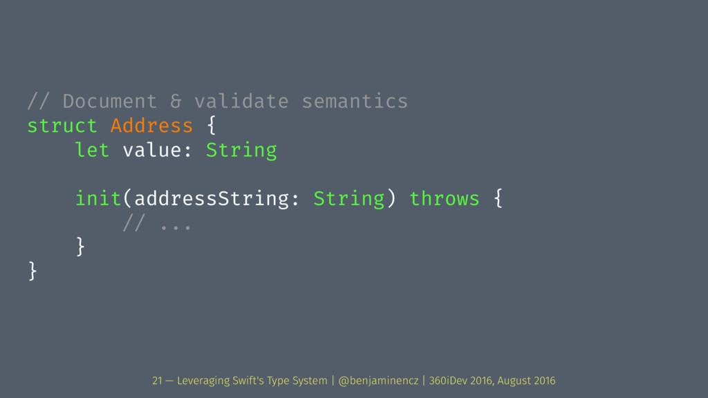 // Document & validate semantics struct Address...