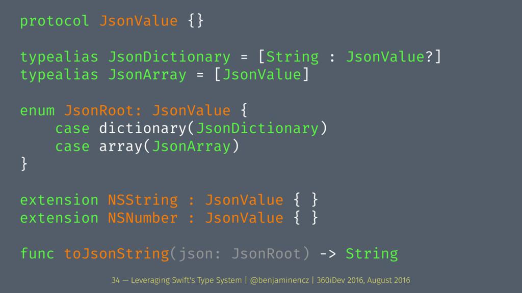 protocol JsonValue {} typealias JsonDictionary ...