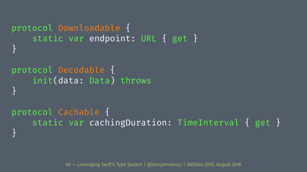 protocol Downloadable { static var endpoint: UR...