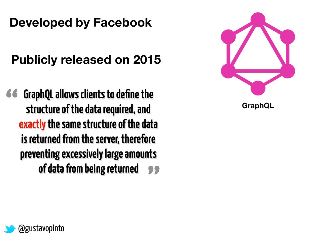 @gustavopinto GraphQL Developed by Facebook Pub...