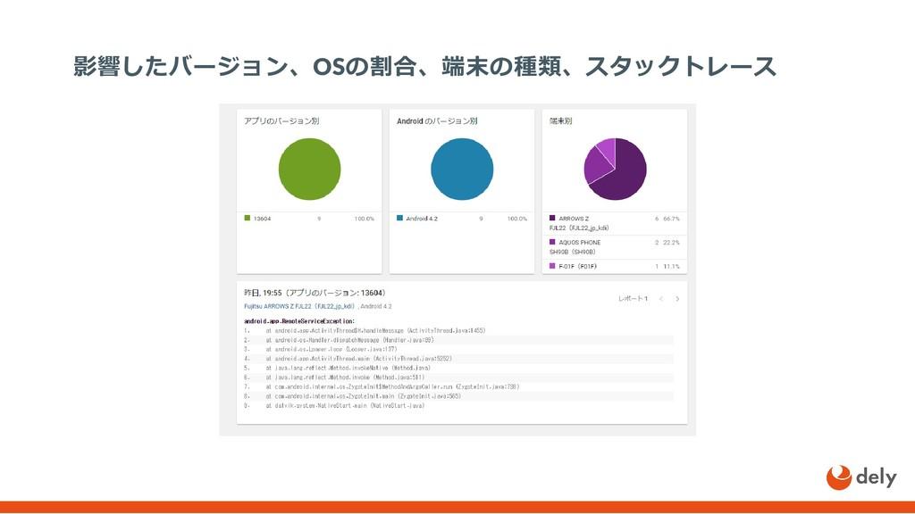 影響したバージョン、OSの割合、端末の種類、スタックトレース