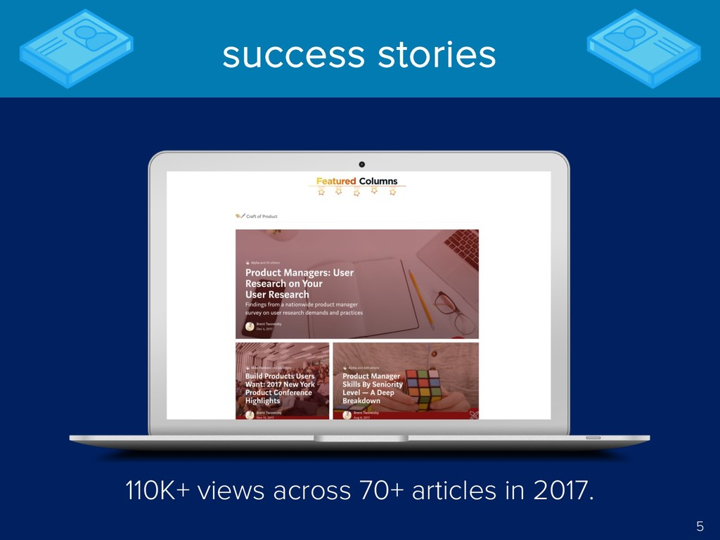 5 success stories 110K+ views across 70+ articl...