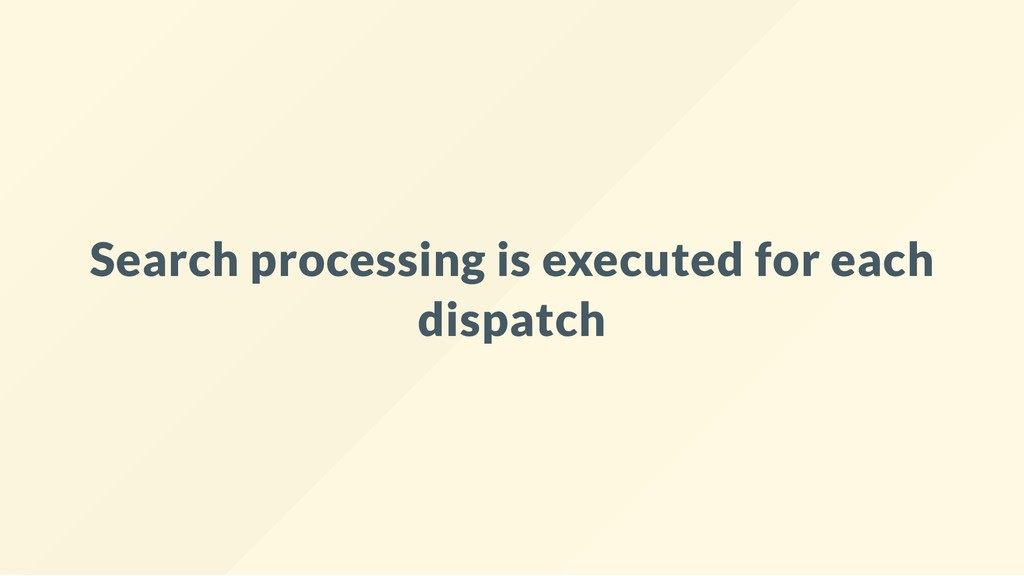 Search processing is executed for each dispatch
