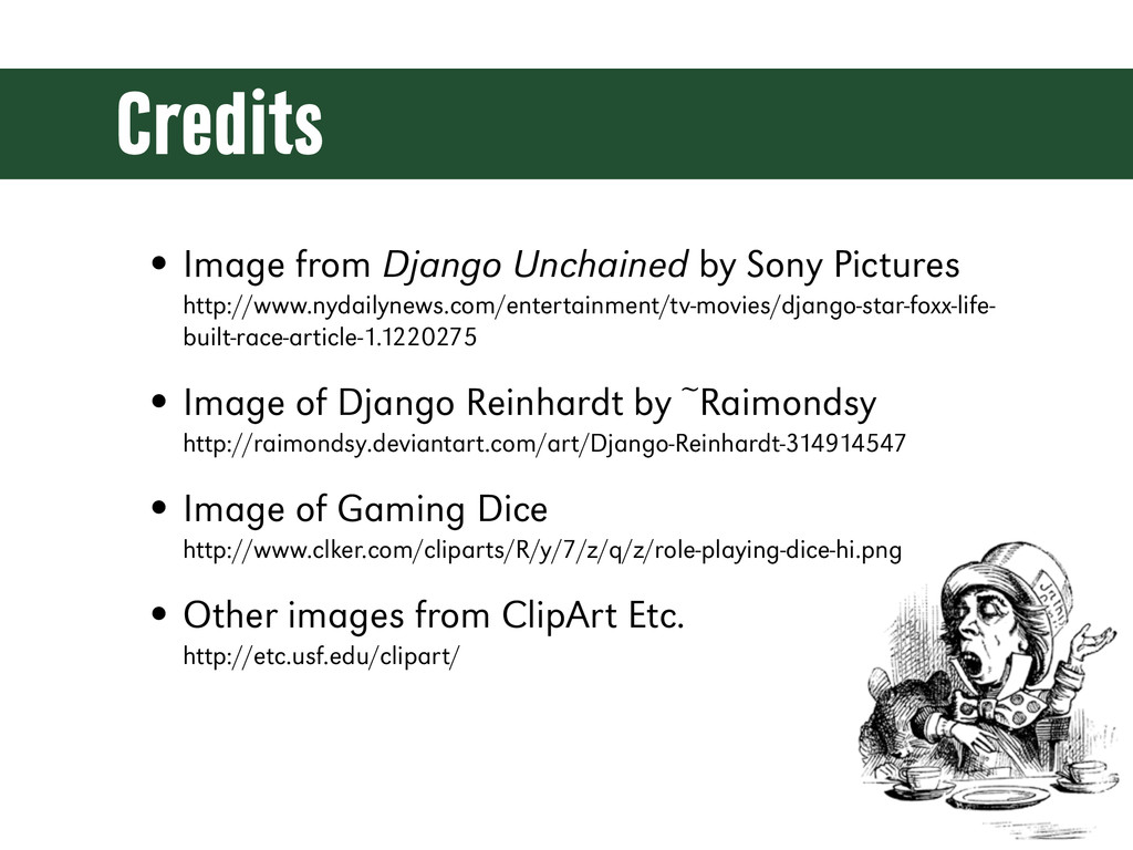 Credits • Image from Django Unchained by Sony P...