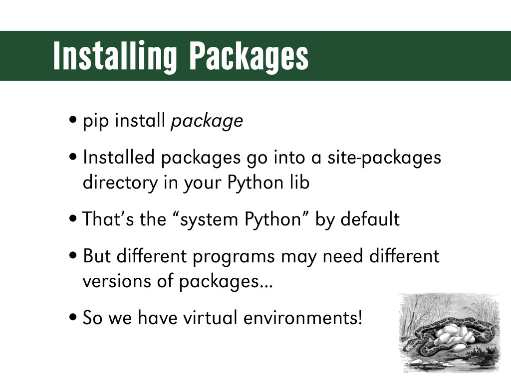 Installing Packages •pip install package •Insta...