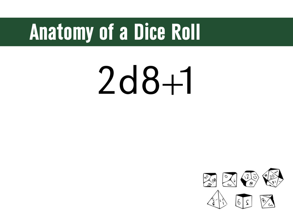 Anatomy of a Dice Roll 2d8+ 1