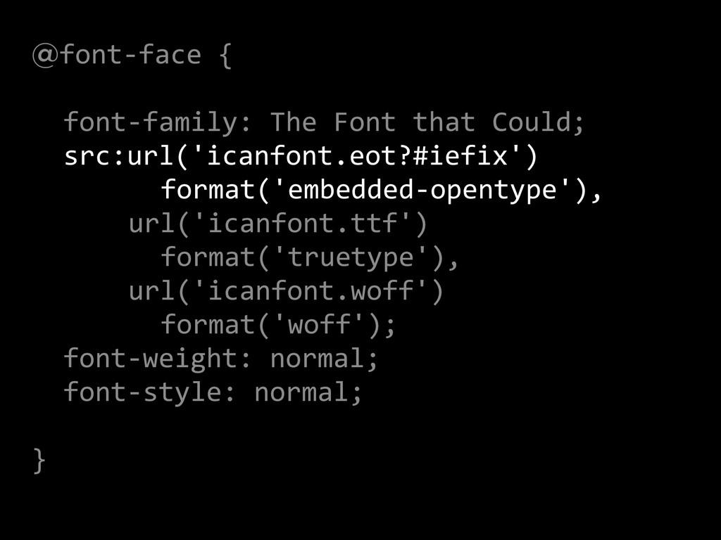 @font-‐face {  !   font-‐family: ...
