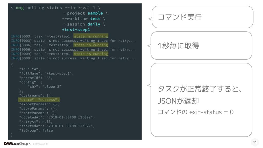 © DMM.comラボ 11 タスクが正常終了すると、 JSONが返却 コマンドの exit-...