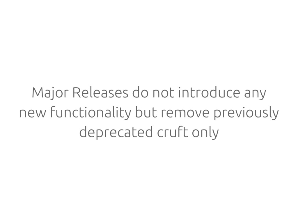 Major Releases do not introduce any new functio...