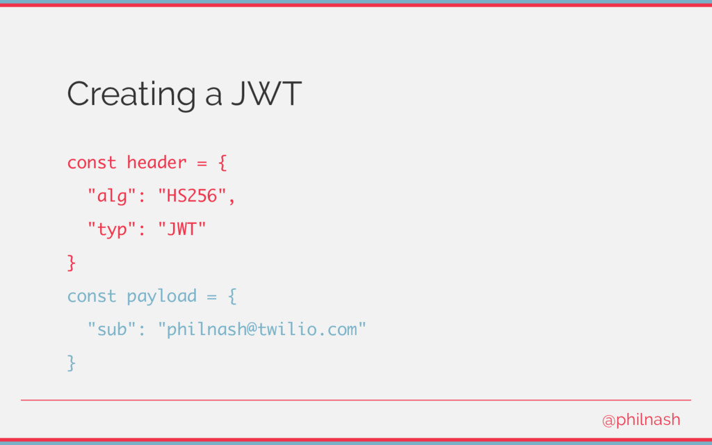 "Creating a JWT const header = { ""alg"": ""HS256"",..."