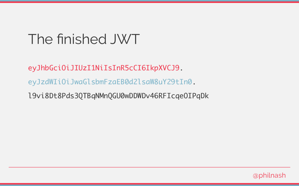 The finished JWT eyJhbGciOiJIUzI1NiIsInR5cCI6Ikp...