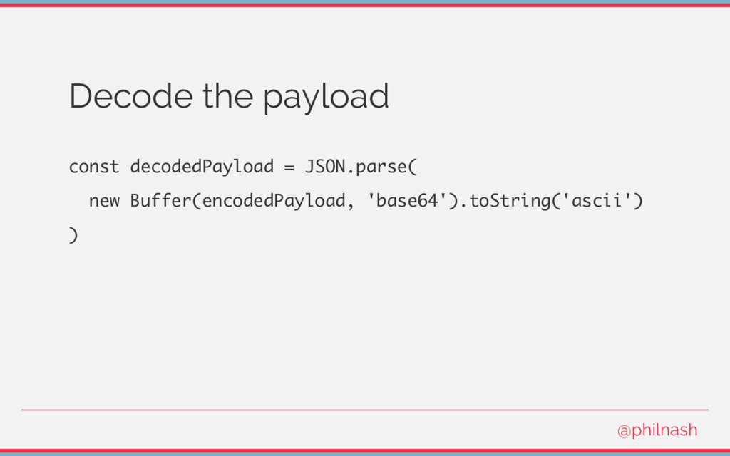 Decode the payload const decodedPayload = JSON....
