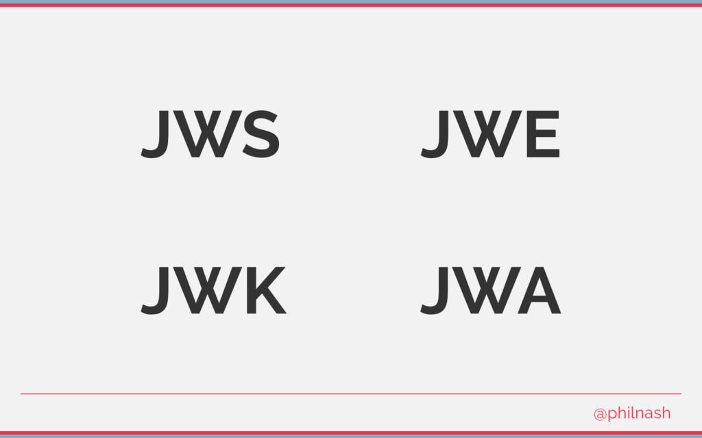 JWS JWE JWK JWA @philnash
