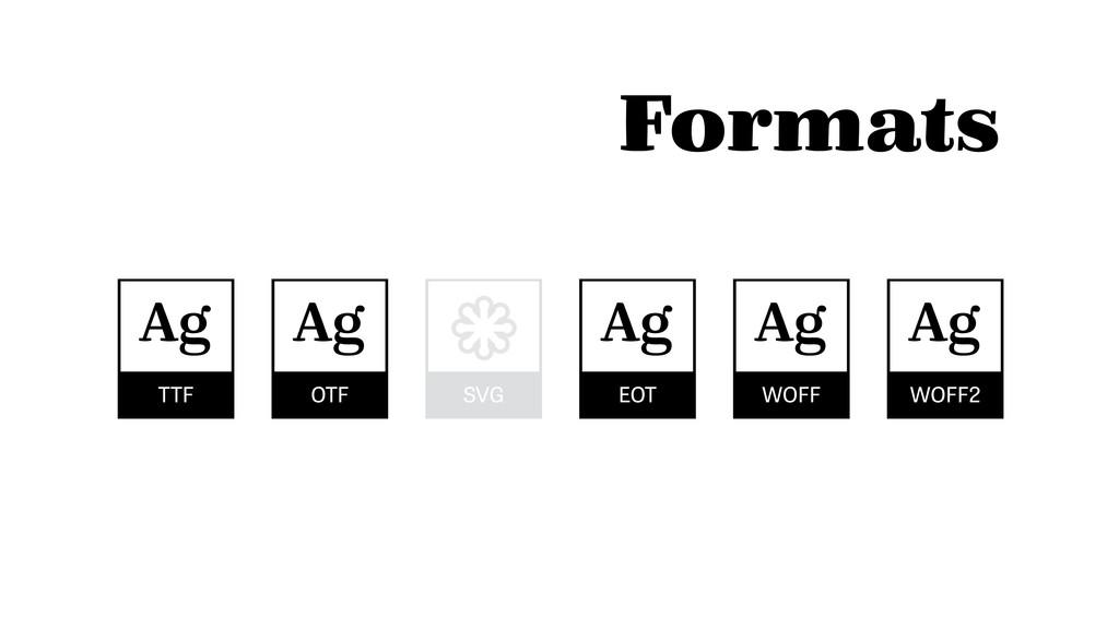 Formats TTF Ag OTF Ag EOT Ag WOFF Ag WOFF2 Ag S...