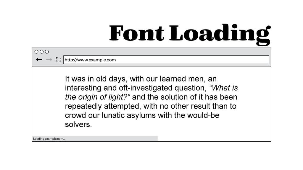 Font Loading http://www.example.com ← → ↻ Loadi...