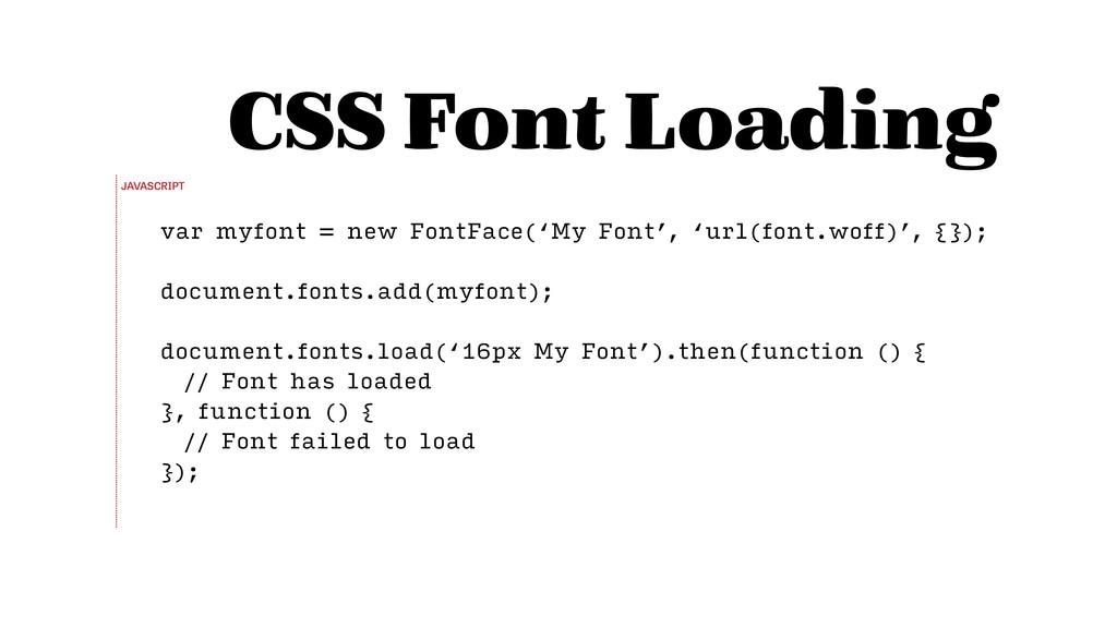 var myfont = new FontFace('My Font', 'url(font....
