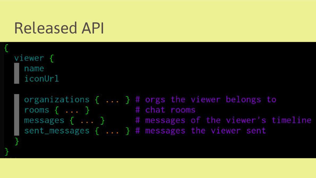 Released API