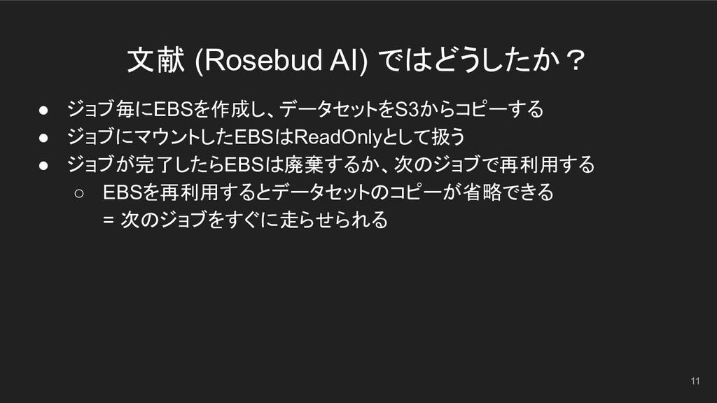 文献 (Rosebud AI) ではどうしたか? 11 ● ジョブ毎にEBSを作成し、データセ...