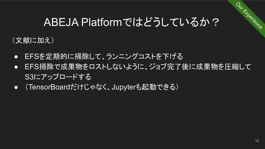 ABEJA Platformではどうしているか? 16 (文献に加え) ● EFSを定期的に掃...