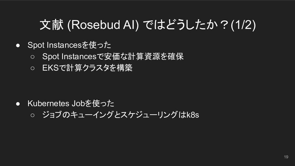 文献 (Rosebud AI) ではどうしたか?(1/2) 19 ● Spot Instanc...