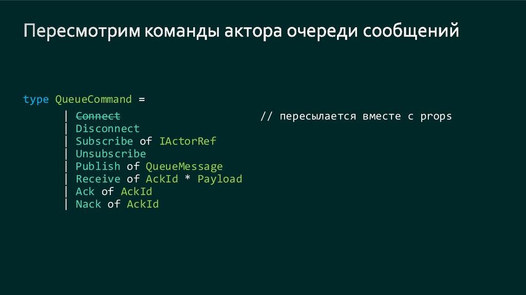 type QueueCommand | Connect // пересылается вме...