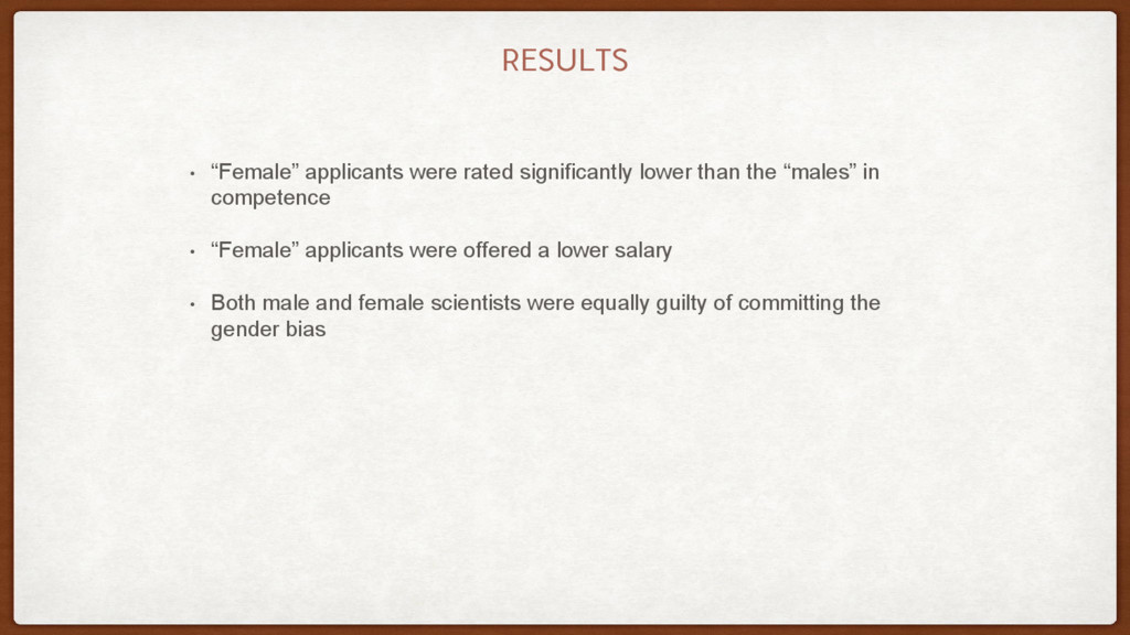 """RESULTS • """"Female"""" applicants were rated signif..."""
