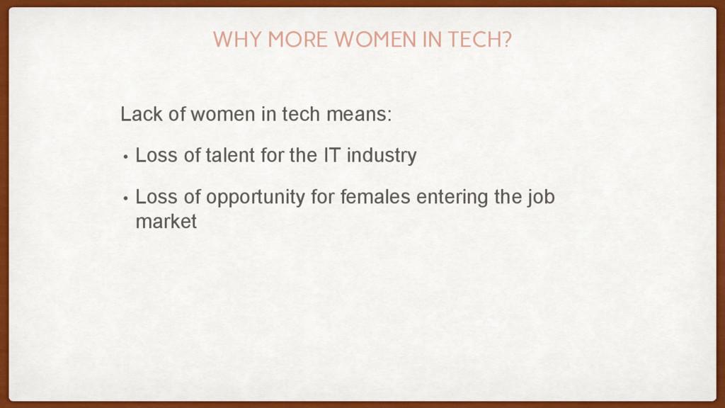 WHY MORE WOMEN IN TECH? Lack of women in tech m...