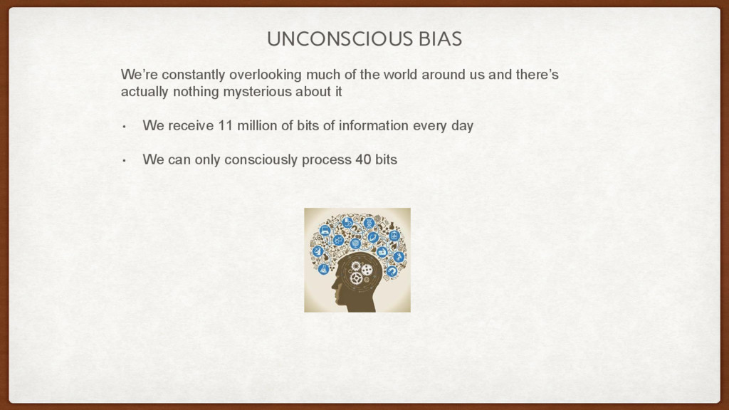 UNCONSCIOUS BIAS We're constantly overlooking m...
