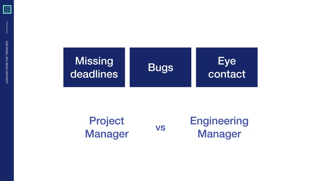 LESSONS FROM THE TRENCHES Missing deadlines Bug...