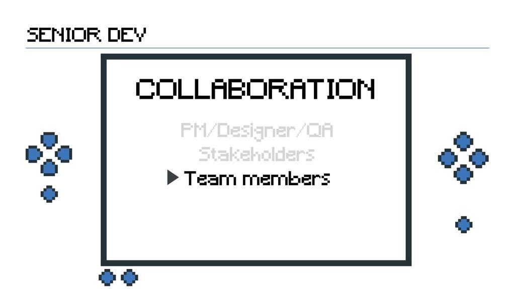 Team members Stakeholders SENIOR DEV COLLABORAT...