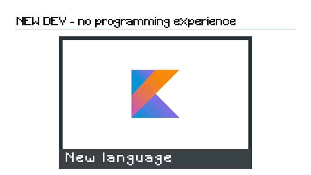 NEW DEV - no programming experience New language