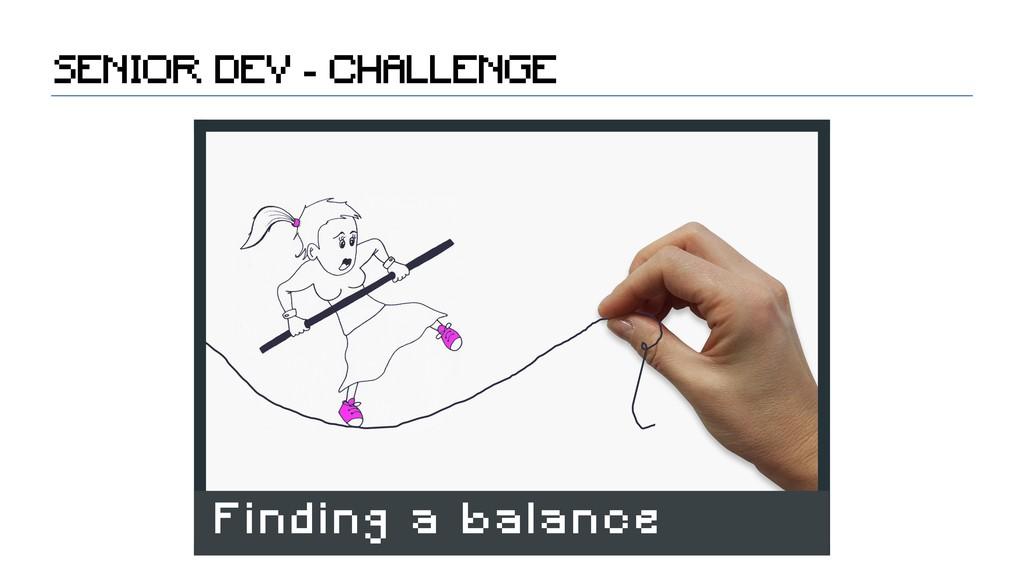 SENIOR DEV - CHALLENGE Finding a balance