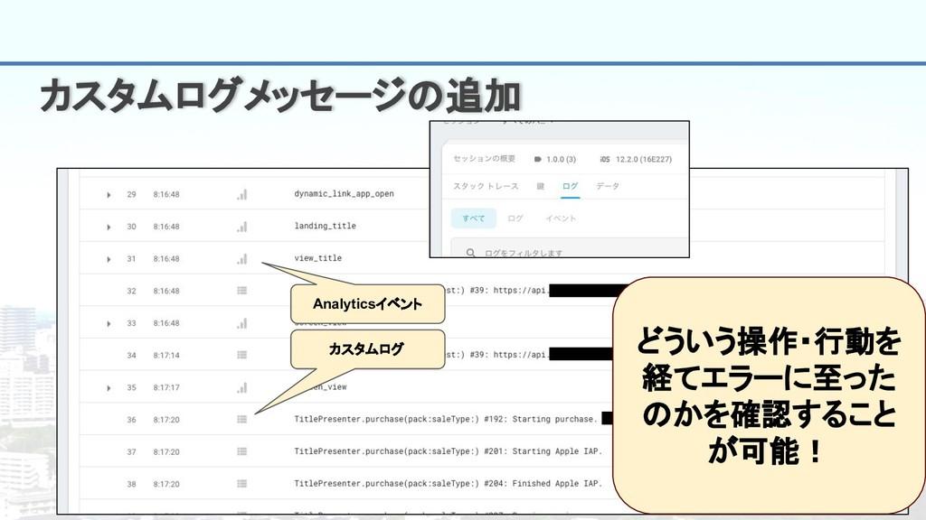 16 カスタムログメッセージの追加 Analyticsイベント カスタムログ どういう操作・行...