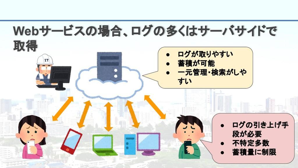 4 Webサービスの場合、ログの多くはサーバサイドで 取得 ● ログが取りやすい ● 蓄積が可...