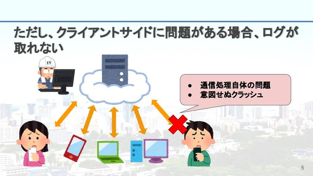 5 ただし、クライアントサイドに問題がある場合、ログが 取れない ● 通信処理自体の問題 ● ...
