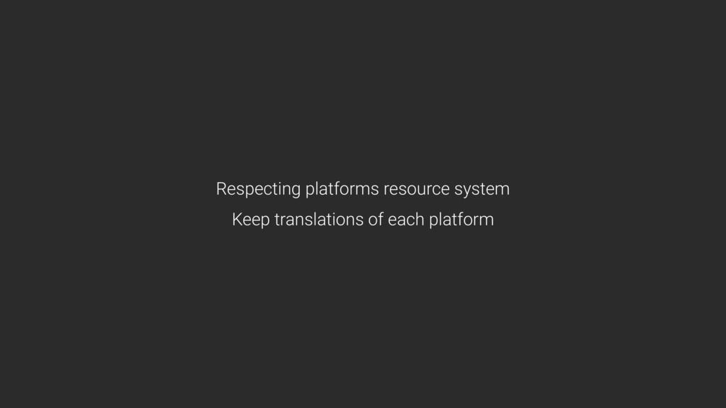 Respecting platforms resource system Keep tran...