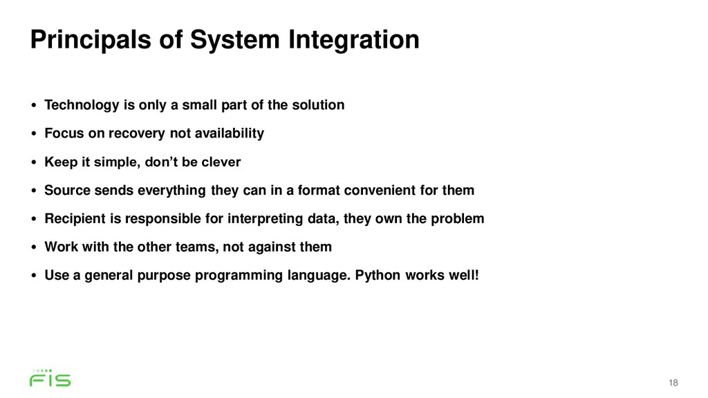 Principals of System Integration 18 • Technolog...