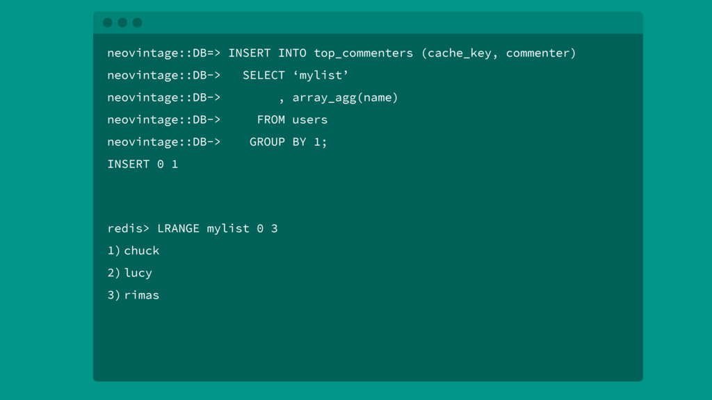 neovintage::DB=> INSERT INTO top_commenters (ca...
